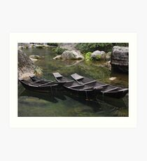 Punts in a Misty Chinese Gorge Art Print
