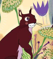 squirrel and plants Sticker