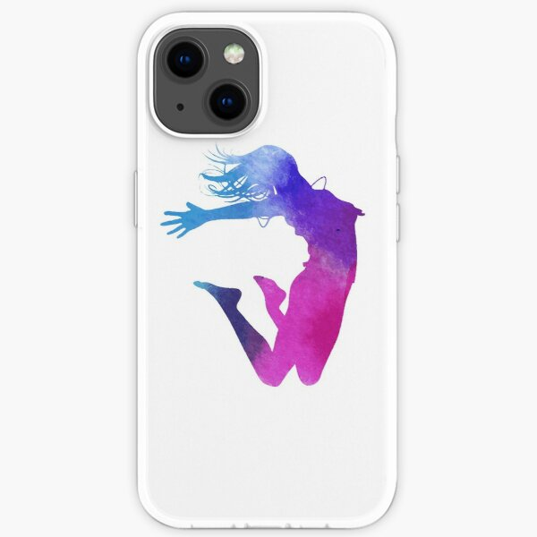 woman multicolored illustration, Dance Watercolor painting Illustration, Color ink silhouette jumping  iPhone Soft Case