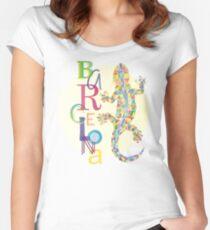 Fashion Barcelona City Lizard Women's Fitted Scoop T-Shirt
