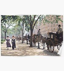 Cab Stand at Madison Square Garden, 1900 Poster