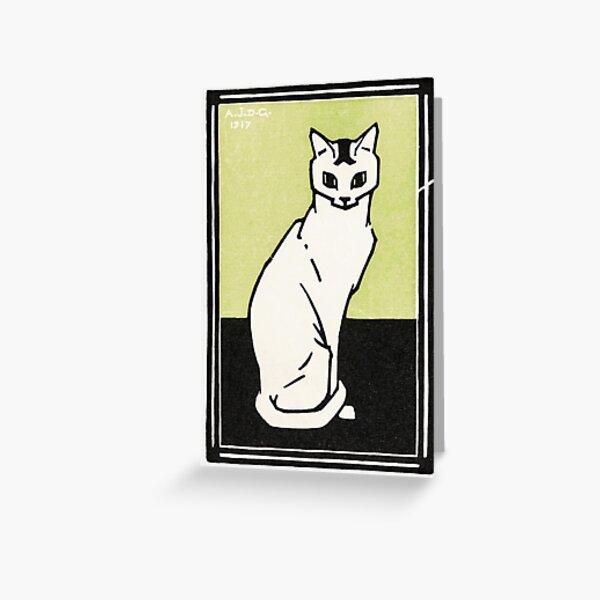 Sitting cat (1917) by Julie de Graag (1877-1924). Greeting Card