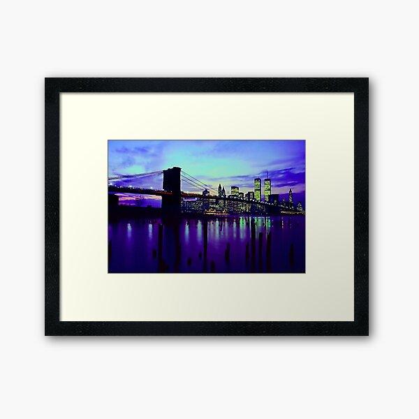 Brooklyn Bridge @ Night Framed Art Print
