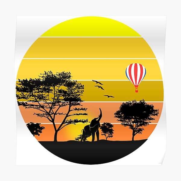 African savanna sunset safari Poster
