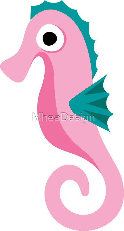 Quot Cute Pink Cartoon Seahorse Quot Stickers By Mheadesign