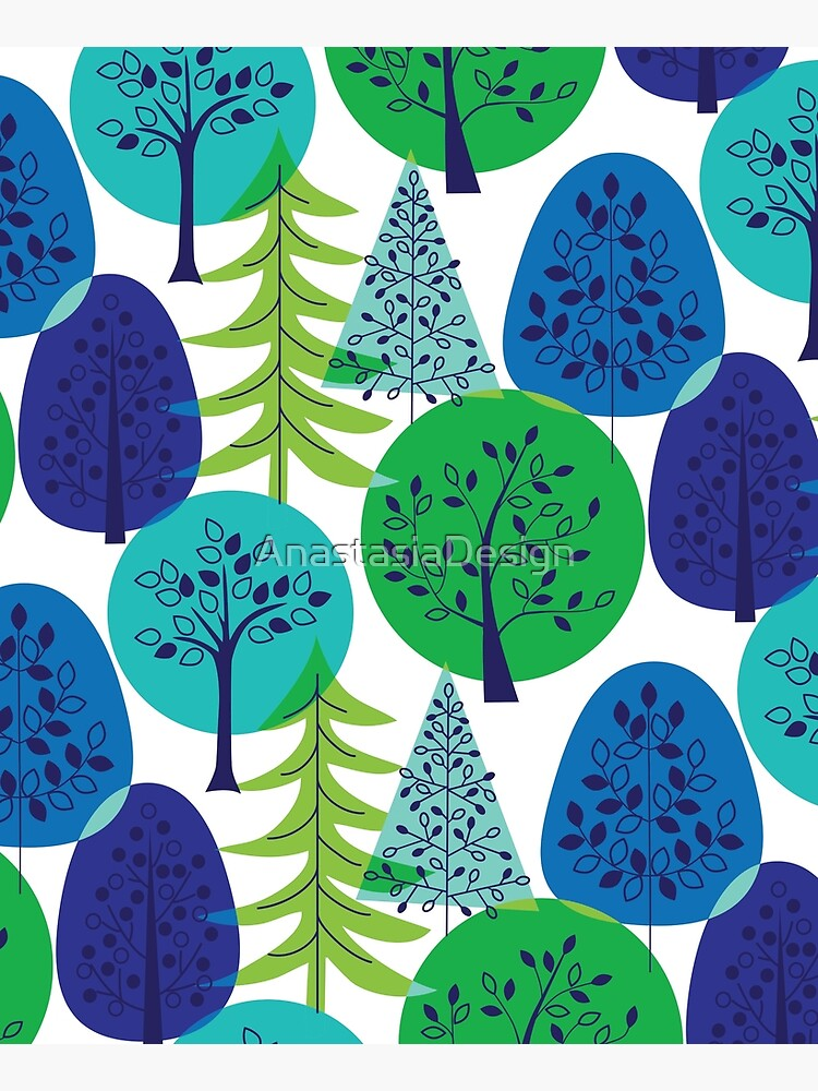 Blue Green Abstract Trees by AnastasiaDesign