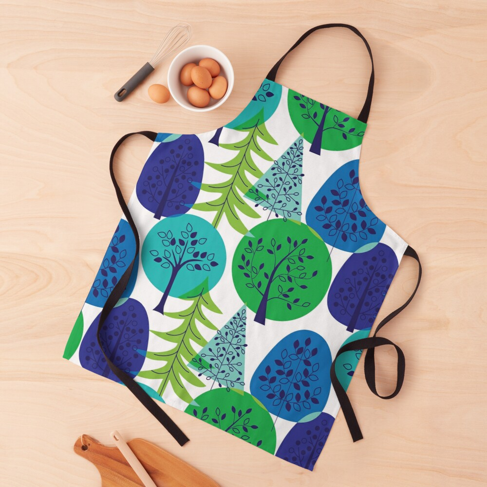 Blue Green Abstract Trees Apron