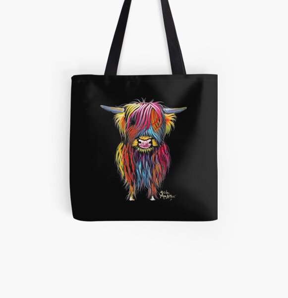 Scottish Hairy Highland Cow ' BRAVEHEART ' by Shirley MacArthur All Over Print Tote Bag