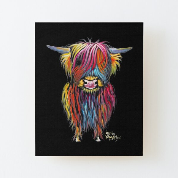 Scottish Hairy Highland Cow ' BRAVEHEART ' by Shirley MacArthur Wood Mounted Print