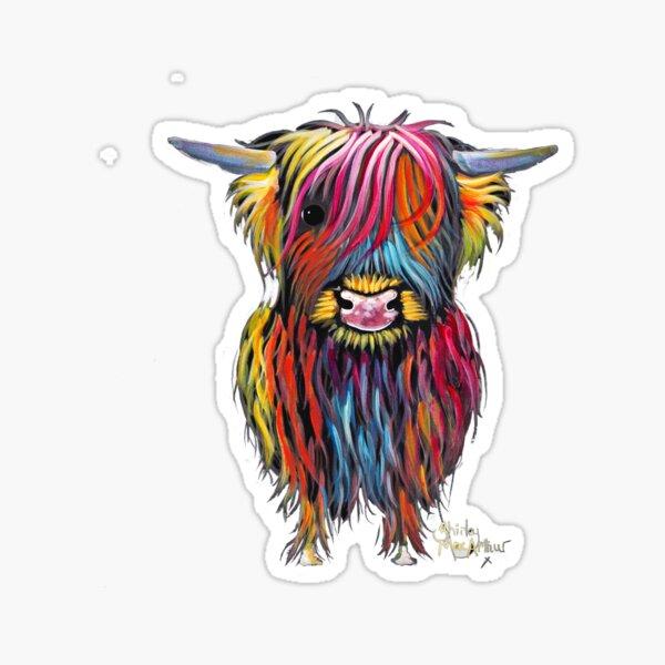 Scottish Hairy Highland Cow ' BRAVEHEART ' by Shirley MacArthur Sticker