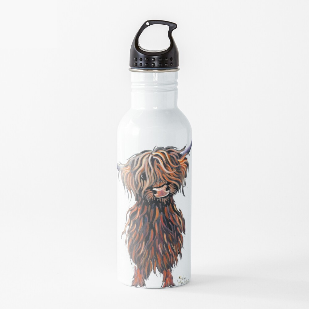 Scottish Hairy Highland Cow ' WEE MAC ' by Shirley Macarthur Water Bottle