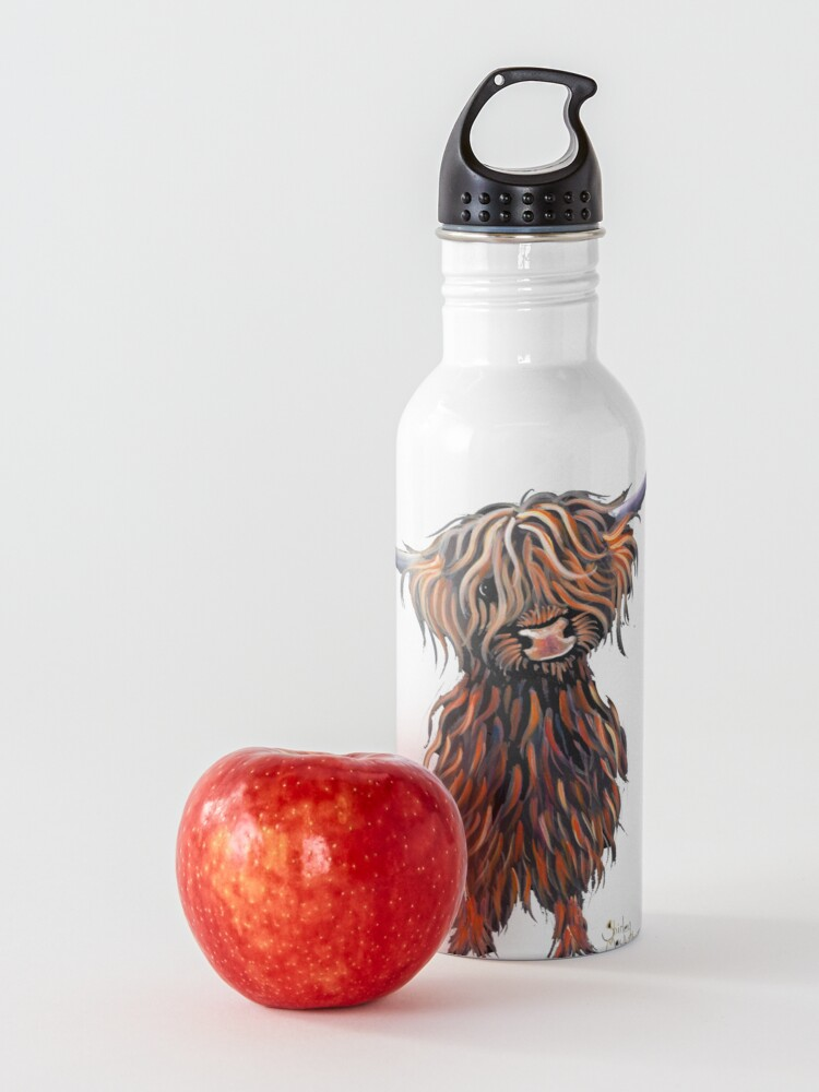 Alternate view of Scottish Hairy Highland Cow ' WEE MAC ' by Shirley Macarthur Water Bottle