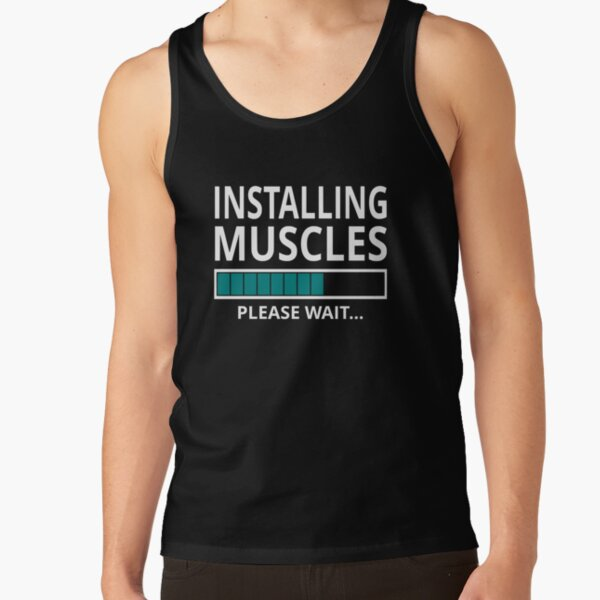 Gym Workout Lifting Beast Installing Muscles Please Wait Mens Navy Tank Top