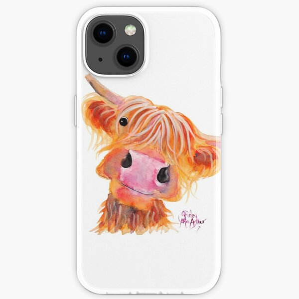 Highland Cow 'NESSIE' from Original Painting by Shirley MacArthur iPhone Soft Case
