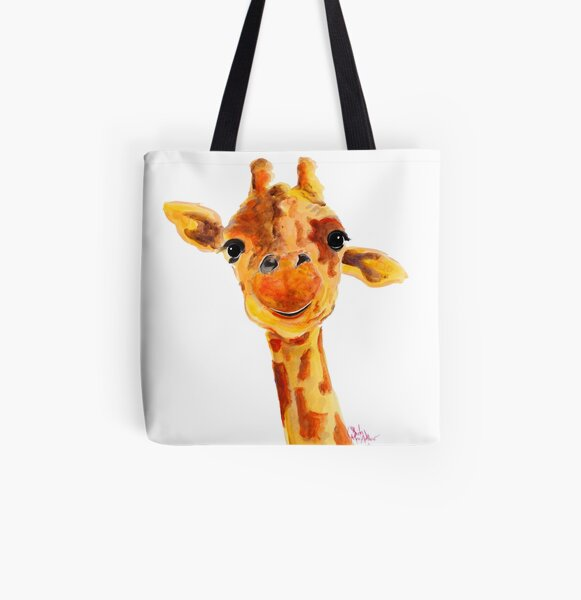 Animal Portrait Photography Photography Accessory Animal Photography Giraffe Tote Bag Blue and Yellow Wildlife