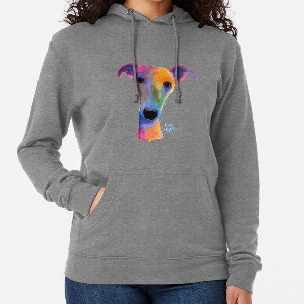 WHIPPET / GREYHOUND PRiNT 'PANSY' By Shirley MacArthur Lightweight Hoodie