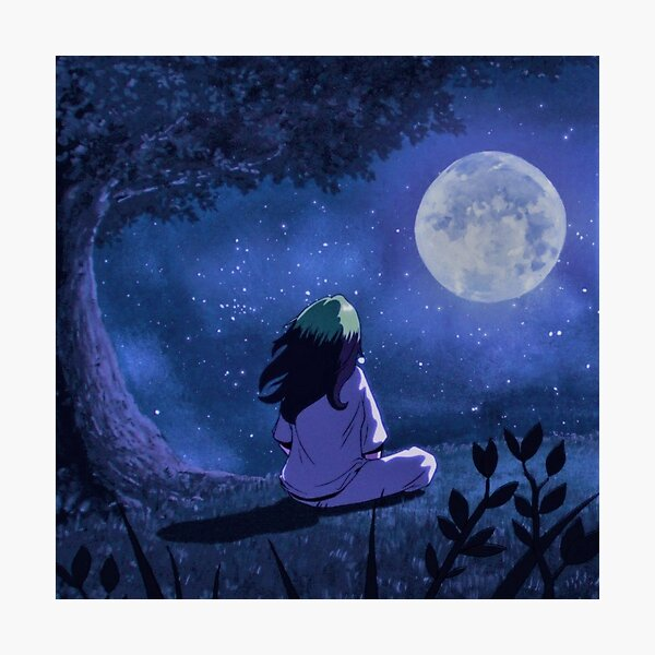 Girl watching moon Photographic Print