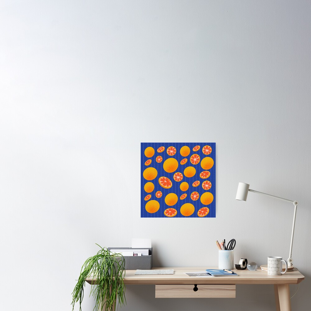 Grapefruit on Indigo Poster