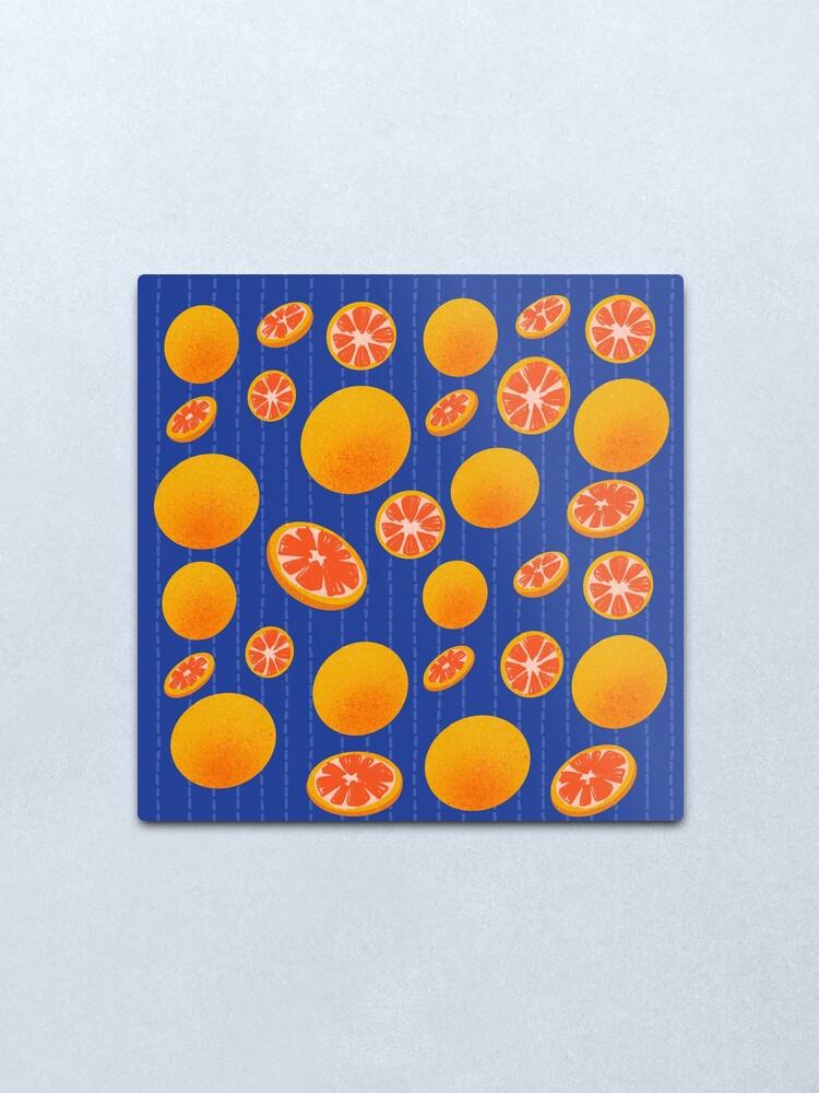 Alternate view of Grapefruit on Indigo Metal Print