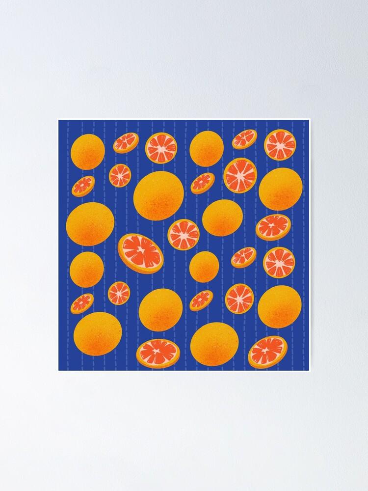 Alternate view of Grapefruit on Indigo Poster