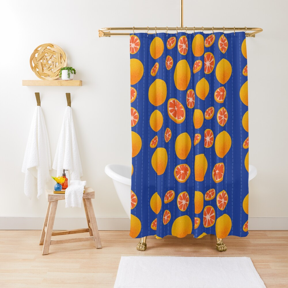 Grapefruit on Indigo Shower Curtain