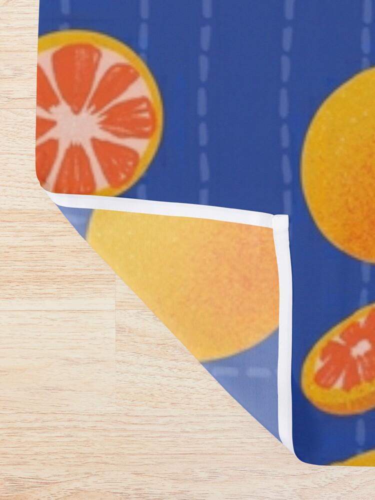 Alternate view of Grapefruit on Indigo Shower Curtain