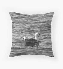 Duck at the Lake (Black and White) Throw Pillow
