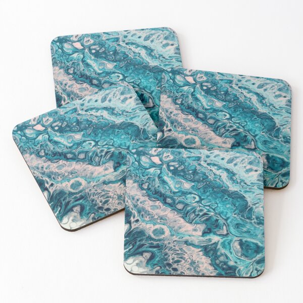 Pink and blue fluid art Coasters (Set of 4)
