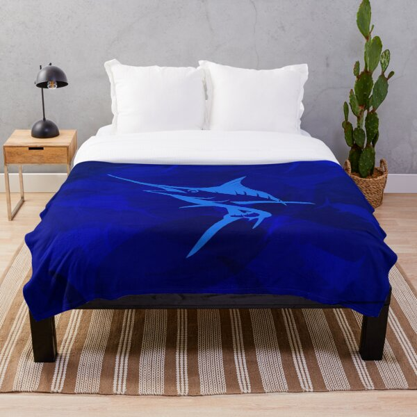 Graphic Blue Marlin Blues Throw Blanket