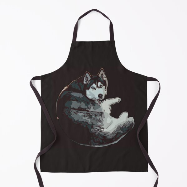 Black and White Husky Dog Apron