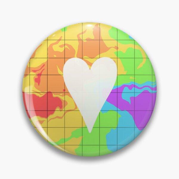 Rainbow Grid Heart Pin