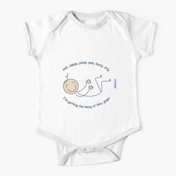 Eat, sleep, poop, pee: Baby routine Short Sleeve Baby One-Piece