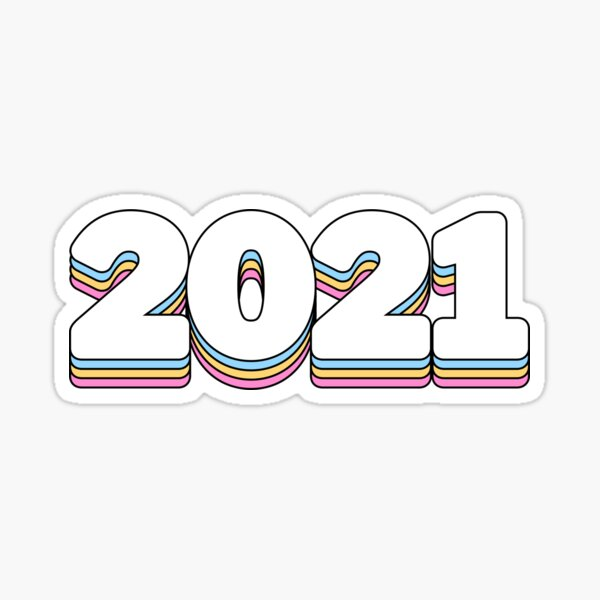 2021 rainbow happy new year Sticker