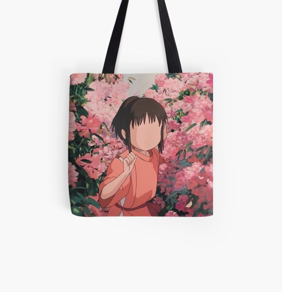 Chihiro Walking Through Flowers All Over Print Tote Bag