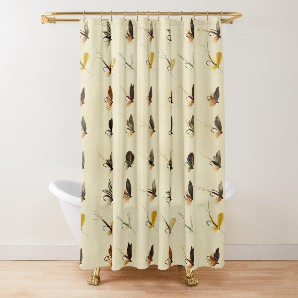 Vintage Trout Flies Pattern Shower Curtain