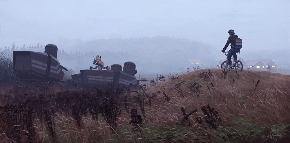 The Scrapyard Sentry by Simon Stålenhag