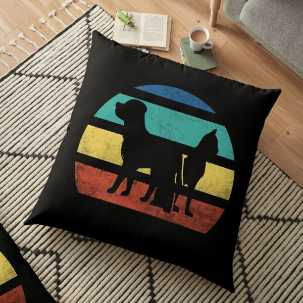Vintage Retro Sunset Dog and Cat , Gift for Cats , Dogs owners and Lovers Floor Pillow