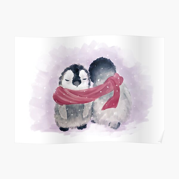Penguin Cuddle Poster
