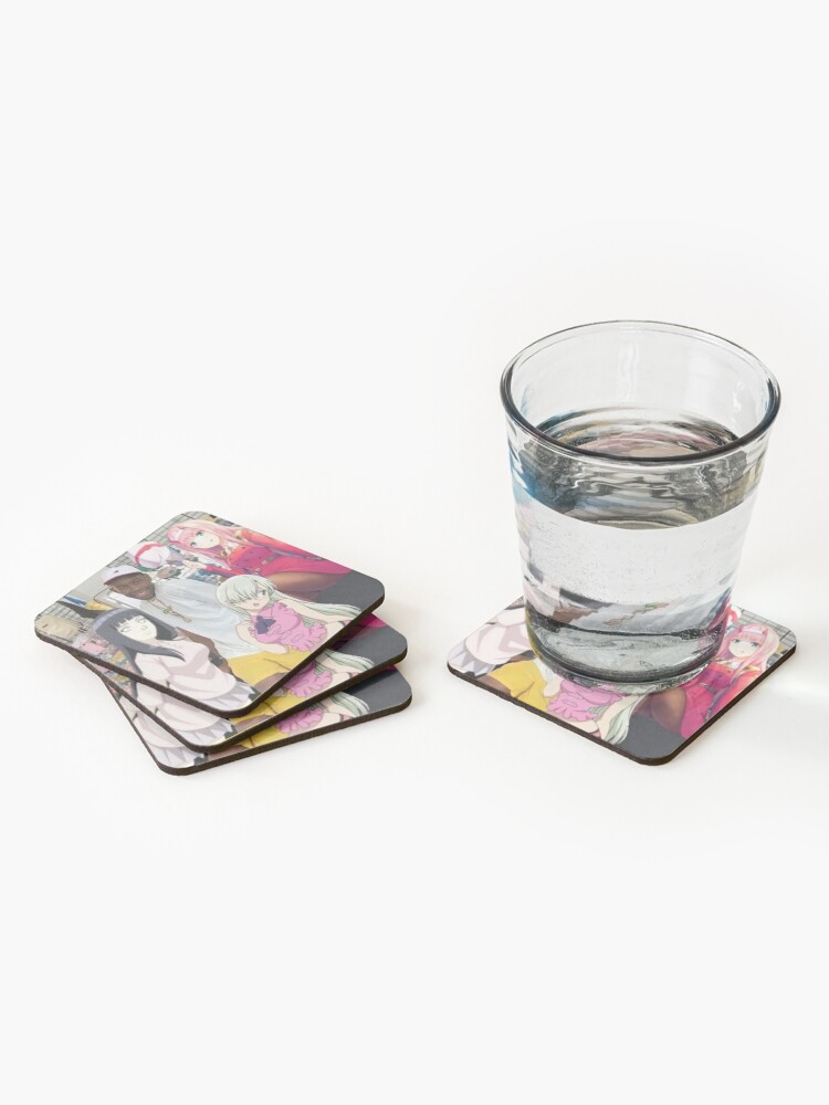 Alternate view of anime girl rapper aesthetic Coasters (Set of 4)