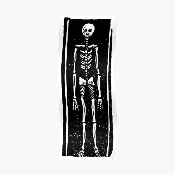 Late Medieval Woodcut of Skeleton in Coffin Poster
