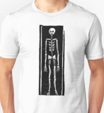 Late Medieval Woodcut of Skeleton in Coffin Slim Fit T-Shirt