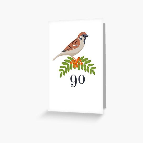 90th birthday card: Eurasian Tree Sparrow and Rowan Berries Greeting Card