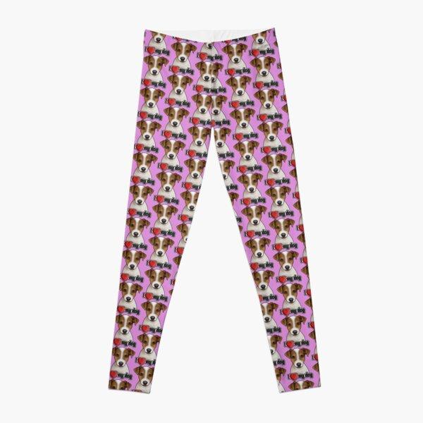 I Love My Dog - Jack Russell Terrier - Pattern - Pink Leggings