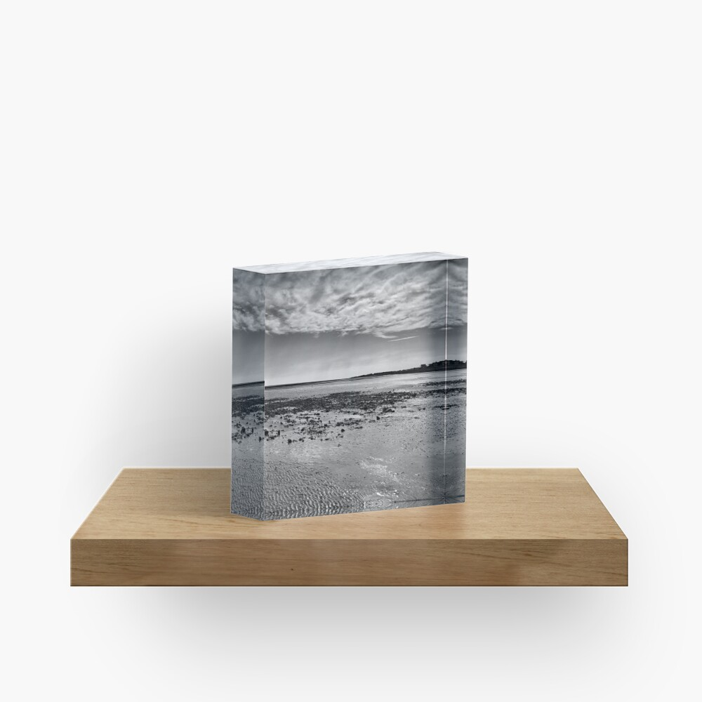 Low-Tide Black and White Seascape Acrylic Block