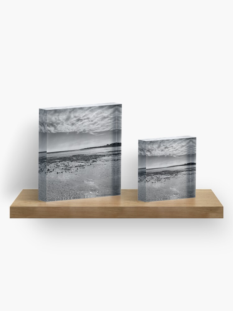 Alternate view of Low-Tide Black and White Seascape Acrylic Block