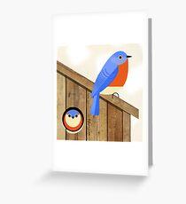 blue bird house Greeting Card