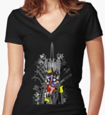 Kingdom Hearts: Game of Hearts Color Women's Fitted V-Neck T-Shirt