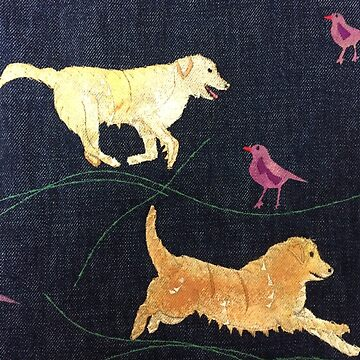 Golden Retrievers.  Print of Embroidered Textile by jackiewills