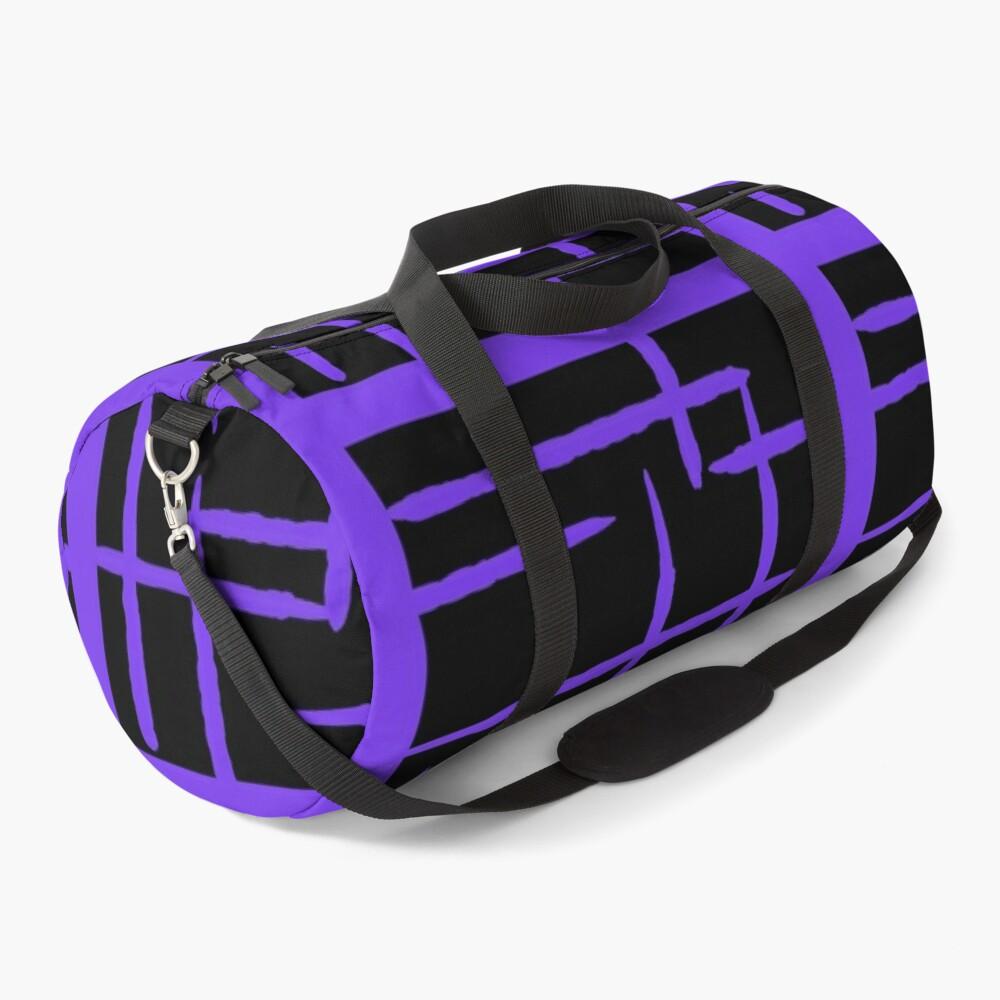 PURPLE  AND BLACK GEOMETRIC LINES   PATTERN Duffle Bag