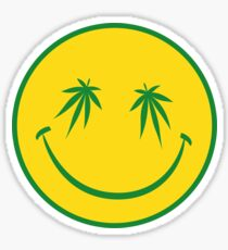 Marijuana Smiley Face Sticker